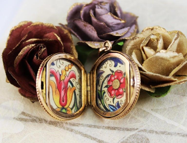 Victorian 14 Karat Rose Gold Old Mine Cut Diamond Locket For Sale 5