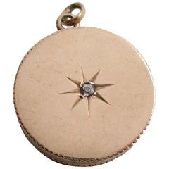 Victorian 14 Karat Rose Gold Old Mine Cut Diamond Locket