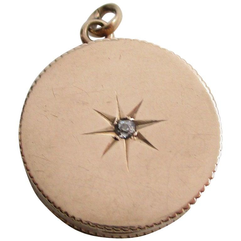 Victorian 14 Karat Rose Gold Old Mine Cut Diamond Locket For Sale