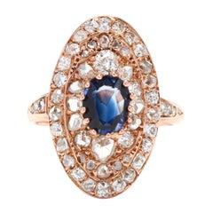 Victorian 14 Karat Rose Gold, Sapphire and Diamond Navette Ring