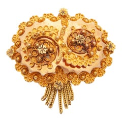 Victorian 14 Karat Yellow and Rose Gold Filigree Brooch