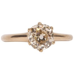Victorian 14 Karat Yellow Gold 1.51 Old Mine Cut Solitaire Engagement Ring