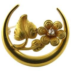 Victorian 14 Karat Yellow Gold and Diamond Honeymoon Daisy Pin Brooch