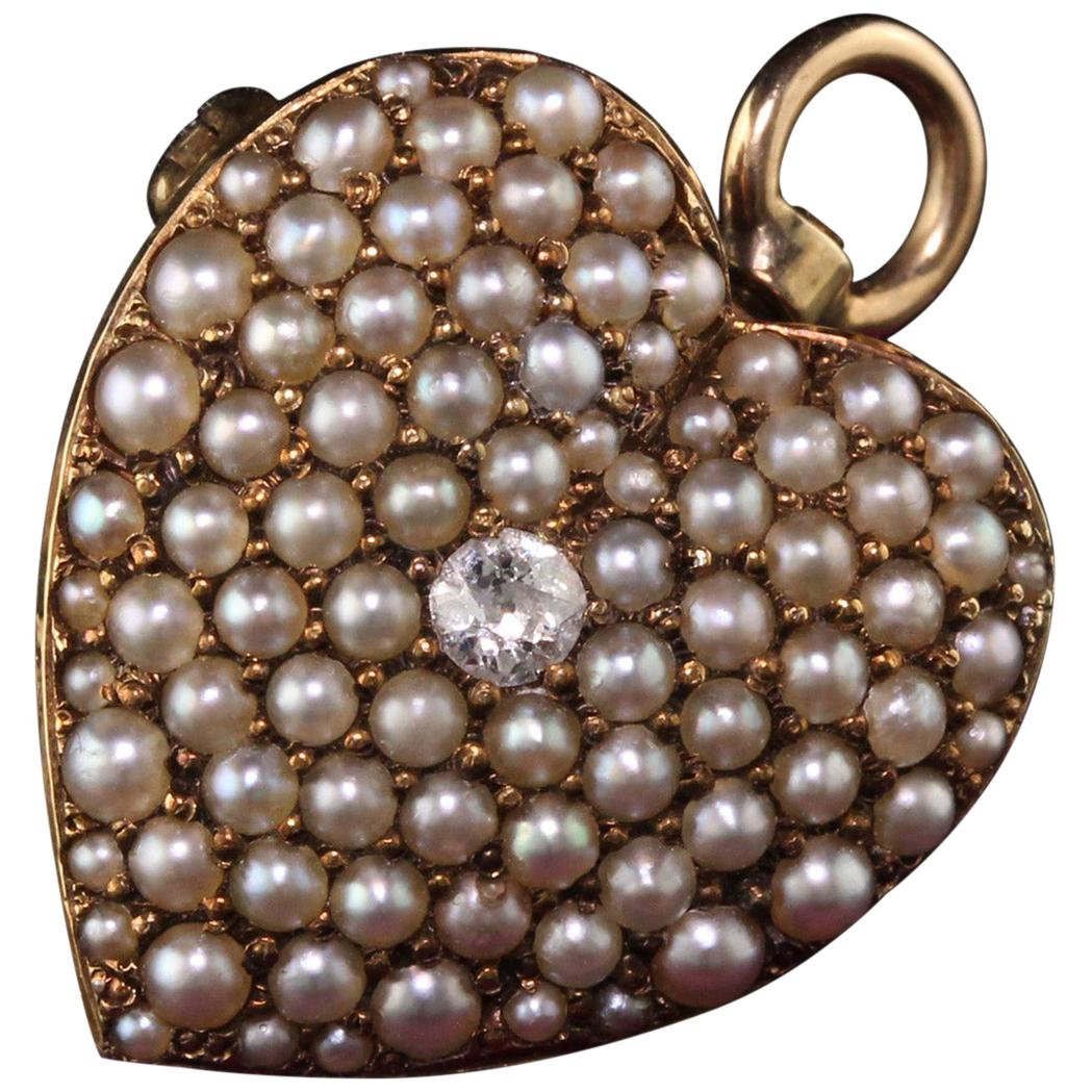 Victorian 14 Karat Yellow Gold Diamond and Natural Pearl Heart Pendant Pin