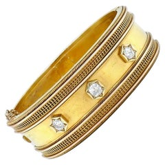 Victorian 14 Karat Yellow Gold Diamond Bangle Bracelet