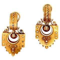 Victorian 14 Karat Yellow Gold Drop Clip Earrings