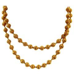 Victorian 14 Karat Yellow Gold Filigree Beaded Necklace