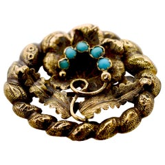Victorian 14 Karat Yellow Gold Floral and Turquoise Pin, circa 1880
