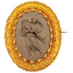 Victorian 14 Karat Yellow Gold Relief Cameo Lava Brooch