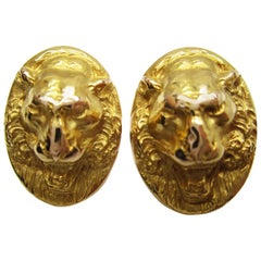 Victorian 14 Karat Yellow Gold Lion Face Cufflinks