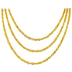 Victorian 14 Karat Yellow Gold Long Chain Link Necklace