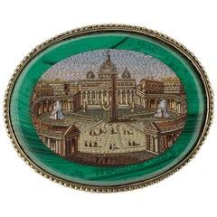 Victorian 14 Karat Yellow Gold Malachite Micro Mosaic Brooch