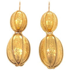 Victorian 14 Karat Yellow Gold Melon Formed Pendant Earrings
