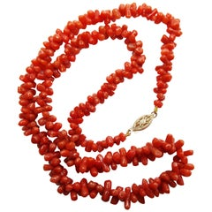 Victorian 14 Karat Yellow Gold Natural Red Coral Bead Strand