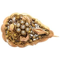 Victorian 14 Karat Yellow Gold Filigree Pearl Brooch