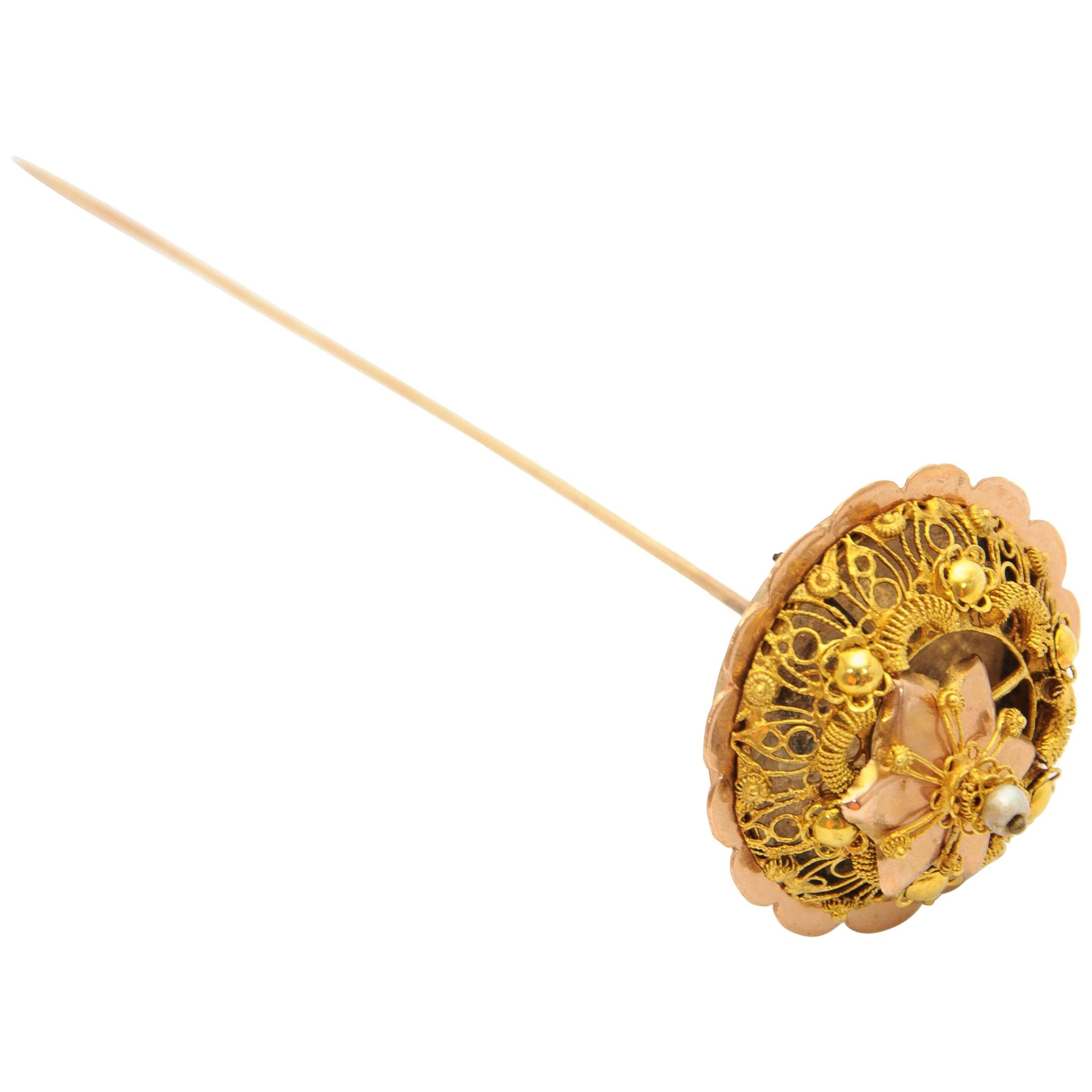 Victorian 14 Karat Yellow Gold Filigree Pearl Stick Pin