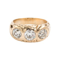 Victorian 14 Karat Yellow Gold Three-Stone 2.19 Carat Diamond Ring