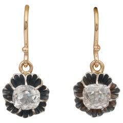 Victorian 1.40 Carat Cushion Diamond Solitaire Drop Earrings