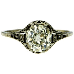 Victorian 1.40 Carat Diamond Gold Solitaire Ring
