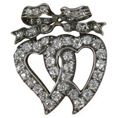 Victorian 1.40ct Old Cut Diamond 18ct Gold Double Witches Heart Bow Brooch