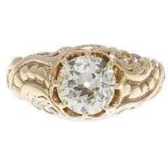 Victorian 1.44 Carat Old European Cut Diamond Gold Engagement Ring