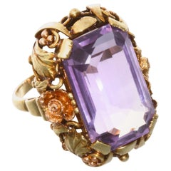 14.75 Carat Amethyst 14 Karat Yellow Rose Gold Ring
