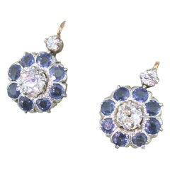 Victorian 1.49 Carat Diamond and 2.88 Carat Sapphire Earrings