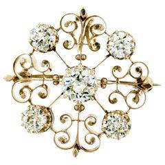 Victorian 14k Gold 2.40 Carat Old European and Mine Cut Diamond Pendant Brooch