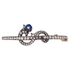 Victorian 14k Gold Rose Cut Diamond and Sapphire Bangle