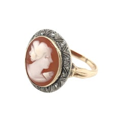 Victorian 14K Gold & Silver Cameo & Diamond Ring