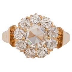 Victorian 14K Gold Vintage 1.07Ct Rose Cut GIA Certified Diamond Engagement Ring