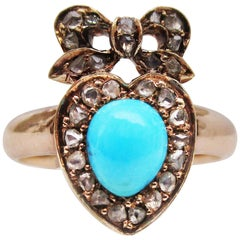 Victorian 14 Karat Rose Gold Diamond and Persian Turquoise Ribbon Heart Ring