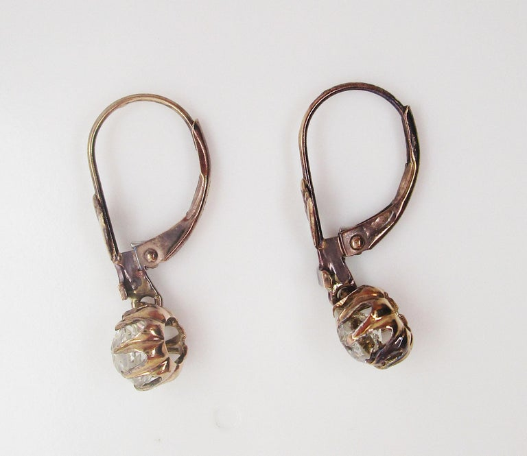 Victorian 14 Karat Rose Gold Old Mine Cut Diamond Drop Dangle Earrings In Excellent Condition For Sale In Lexington, KY