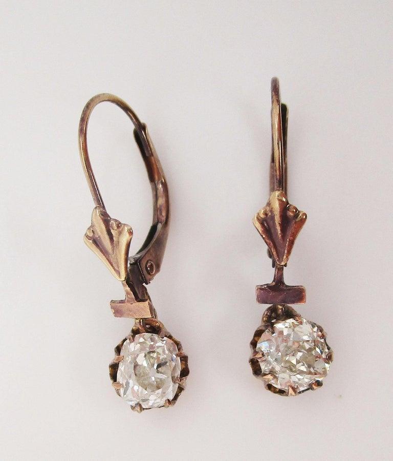 Women's Victorian 14 Karat Rose Gold Old Mine Cut Diamond Drop Dangle Earrings For Sale