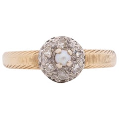Victorian 14K Two-Tone Yellow and White Gold, Diamond and Cultured Pearl Ring