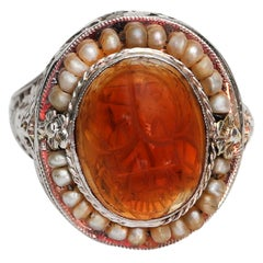 Victorian 14K White Gold Filigree Ring, Scarab Carved Carnelian Seed Pearl Halo