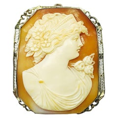 Victorian 14K Yellow filigree Gold & Shell Cushion Shaped Cameo Brooch pendant