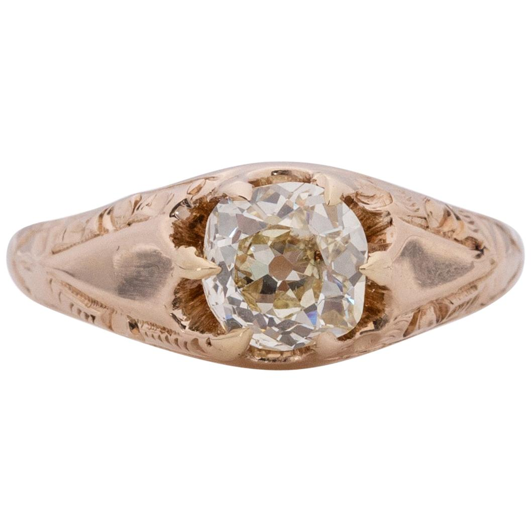 Victorian 14k Yellow Gold 1.05 Antique Cushion Cut in a Belcher Solitaire Ring