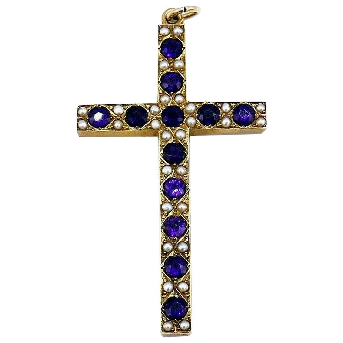 Victorian 14 Karat Yellow Gold Amethyst Pearl Cross Pendant