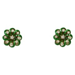 Victorian 14K Yellow Gold and Green Enamel Earrings with Diamonds c. 1880