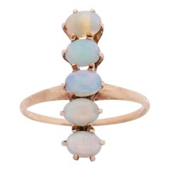 Victorian 14k Yellow Gold Five Opal Vintage Cocktail Ring