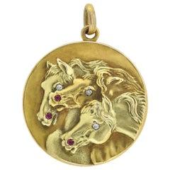 """Victorian 14kt Diamond and Garnet """"The Pharaoh's Horses"""" Locket with Box"""