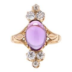 Victorian 14 Karat Gold, Amethyst and Diamond Ring