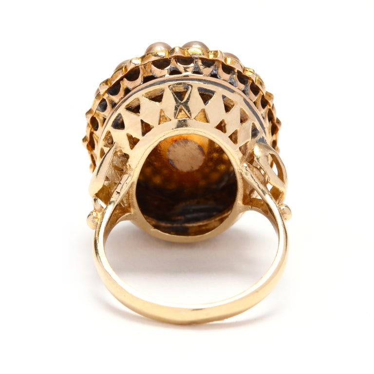 Round Cut Victorian 14 Karat Gold Diamond, Turquoise, and Pearl Bombe Ring For Sale