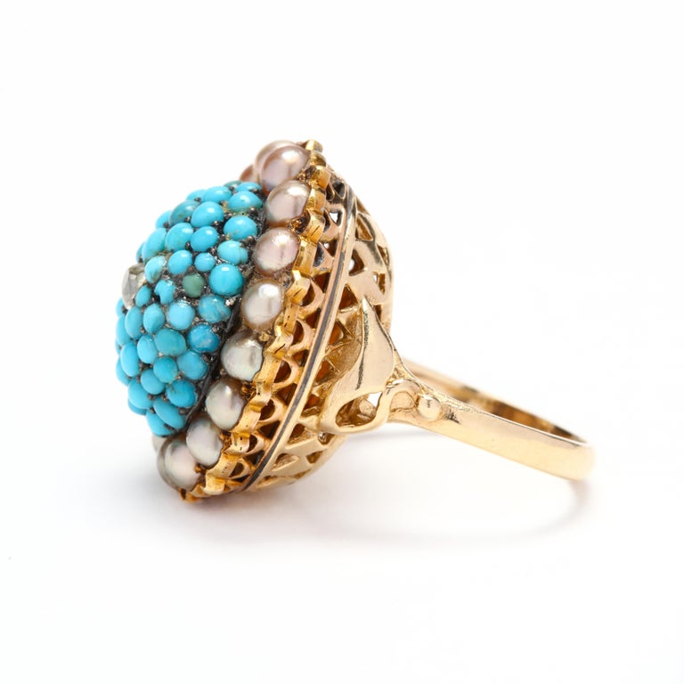 Victorian 14 Karat Gold Diamond, Turquoise, and Pearl Bombe Ring In Good Condition For Sale In McLeansville, NC