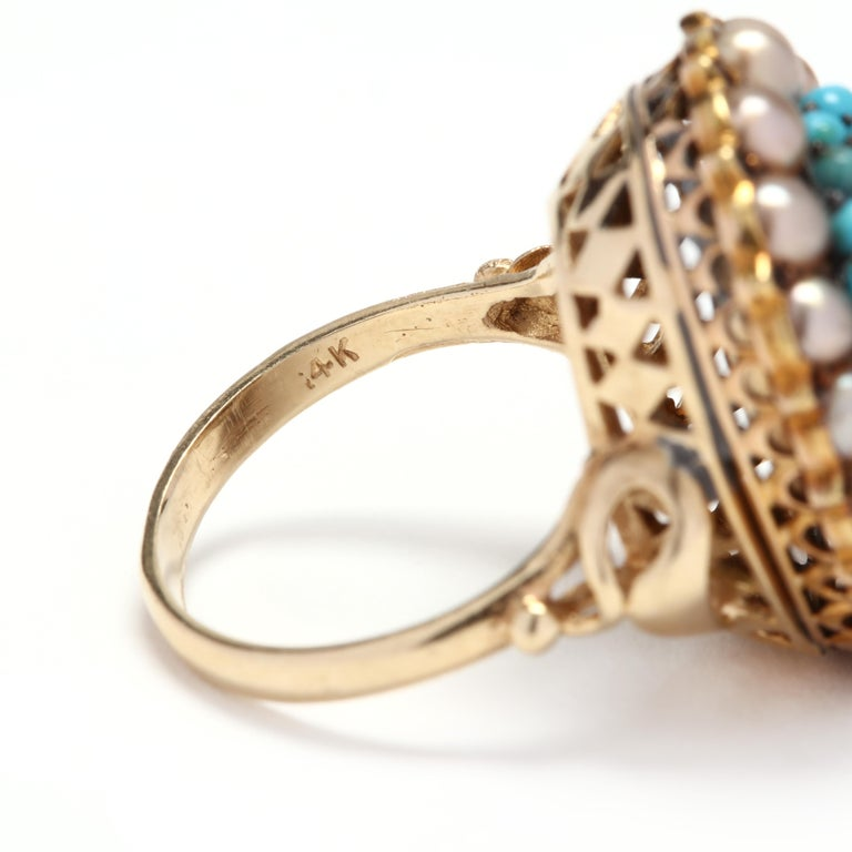 Women's or Men's Victorian 14 Karat Gold Diamond, Turquoise, and Pearl Bombe Ring For Sale