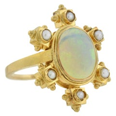 Victorian 14kt Pearl and Opal Ring