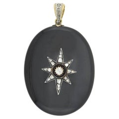 Victorian 14kt/Sterling Onyx Locket with Diamond Starburst Locket Pendant 0.80ct