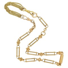 Victorian 14kt Watch Chain Necklace with 18kt Extension