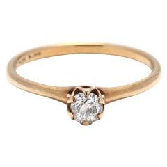 Victorian 14 Karat Yellow Gold Old European Cut Diamond Engagement Ring